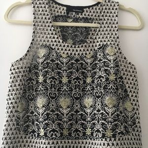 The Kooples black & gold embroidery top, size S.